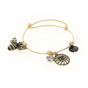 Jewelry - Bumble Bee & Sun Gold Plated Wire Charm Bracelet